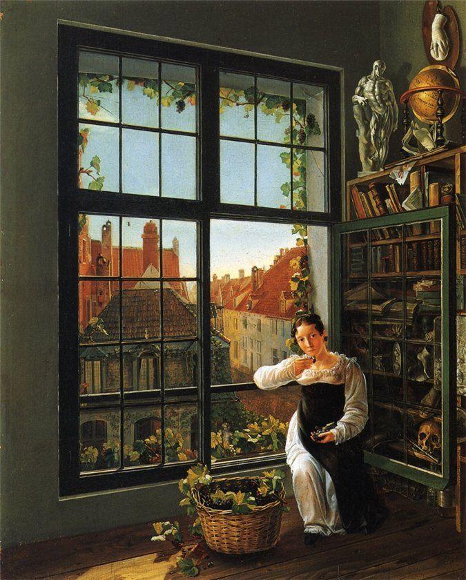 Girl at the Window, 1816, Frans Vervloet. Belgian (1795 - 1872):