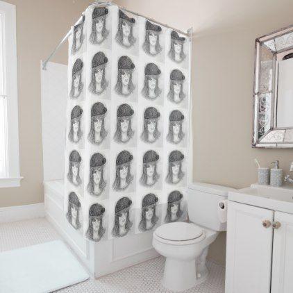 Flipped Hair Flapper Shower Curtain - shower curtains home decor custom idea personalize bathroom