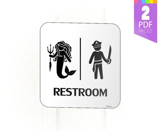 Mermaid and Pirate Restroom Sign for Birthday Party Decor - High Quality Printable PDF - INSTANT DOWNLOAD