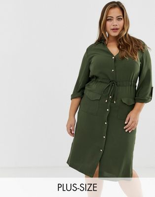 fba4cabab7ad18a Платье-рубашка цвета хаки в стиле милитари River Island Plus in 2019 ...