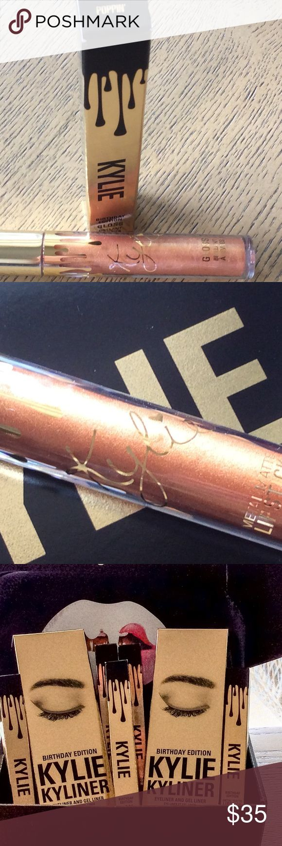 Kylie Jenner Ltd Bday Edition POPPIN' Lip Gloss Kylie Jenner Limited Gold Birthday Edition POPPIN LIP GLOSS. This is brand new in box, never opened. It came direct from her website and is guaranteed authentic. They are no longer making these and are completely sold out. Kylie Cosmetics Makeup Lip Balm & Gloss