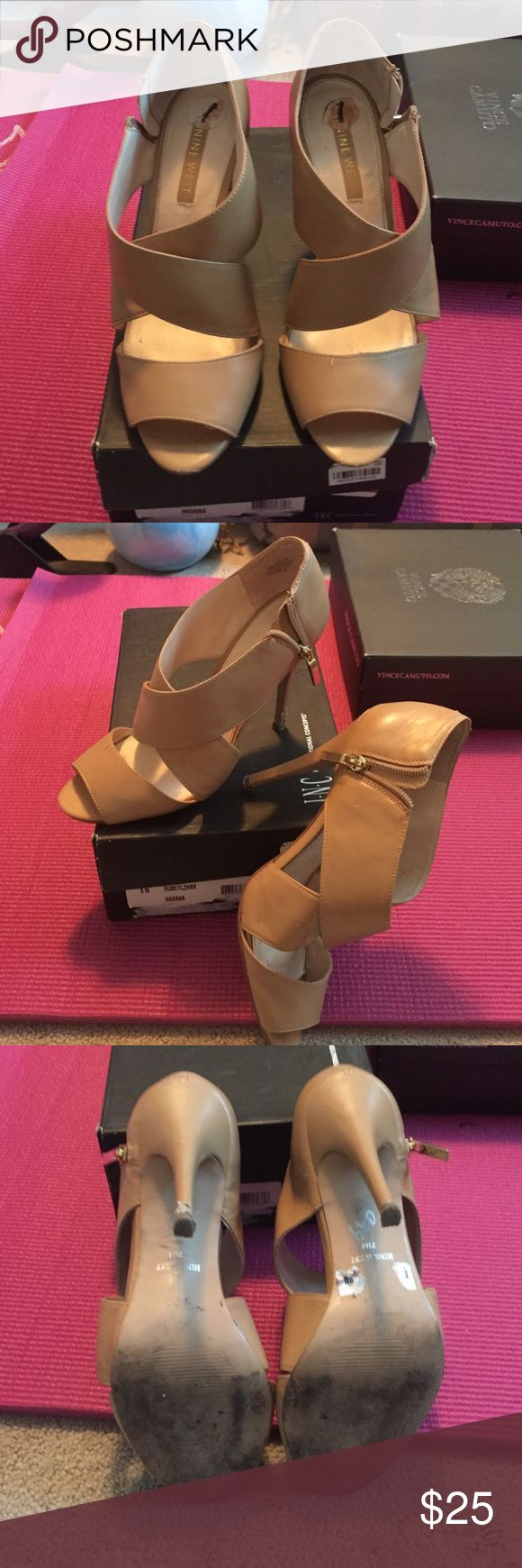 "Nine West Cream High Heel Sandal 4"" Nine West Nude Sandal good condition small scuff on left heel Nine West Shoes Heels"