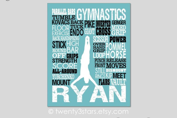Men's Gymnastics Typography Art | Teal & Lime | Choose Any Colors - twenty3stars