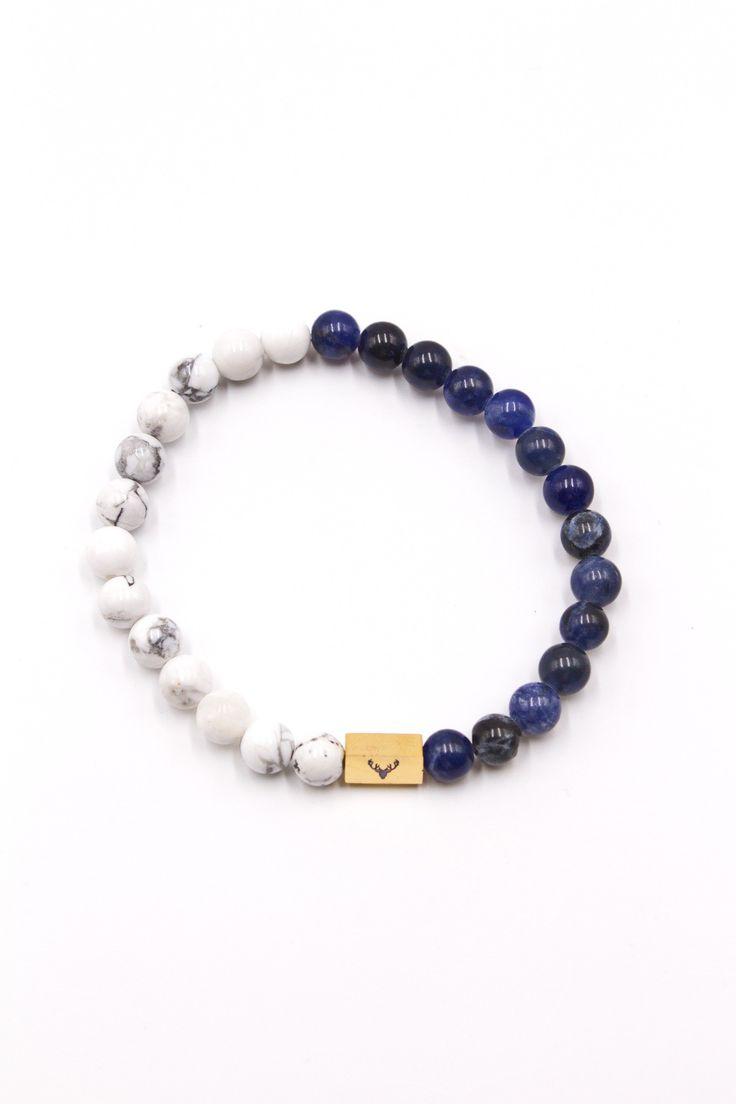 White Howlite & Blue Lapis 8mm Bracelet