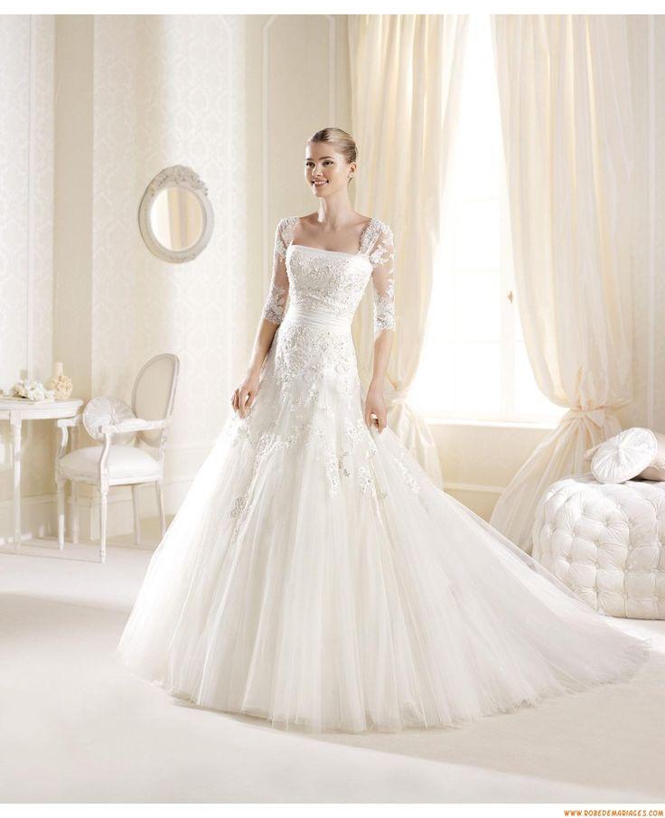 Robes de mariée avec manches détachables tulle application