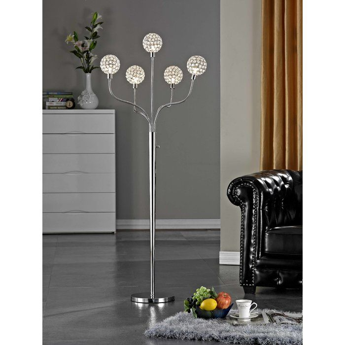 "Dimmable 65"" Crystal Tree Floor Lamp"