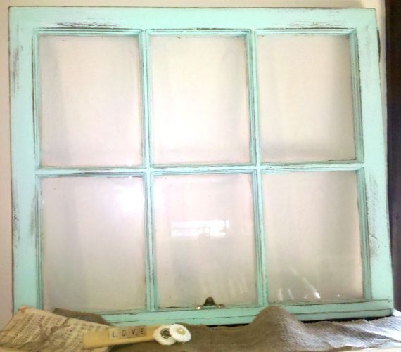 Vintage Shabby Chic Rustic Wedding Turquoise Salvaged Window Frame Beach Decor via Etsy