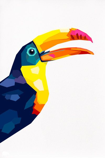 Geometric illustration Toucan Bird print by tinykiwiprints on Etsy