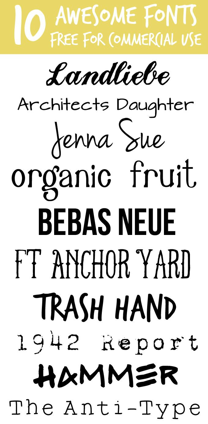 Ten awesome fonts that are free for commercial use.
