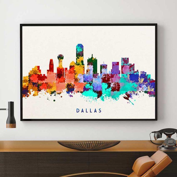 Louisiana Map Decor%0A Dallas Skyline Print  Dallas Skyline Art  Dallas Wall Decor  Dallas City  Home Decor