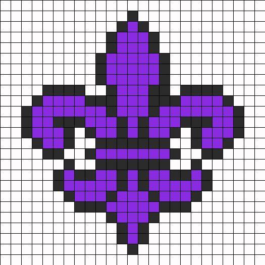 Purple Saints Row Fleur De Lis Perler Bead Pattern / Bead Sprite