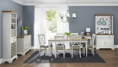 Bentley Designs Hampstead Soft Grey and Oak Dining Set - 6-8 Seater Extending with X Back Chairs