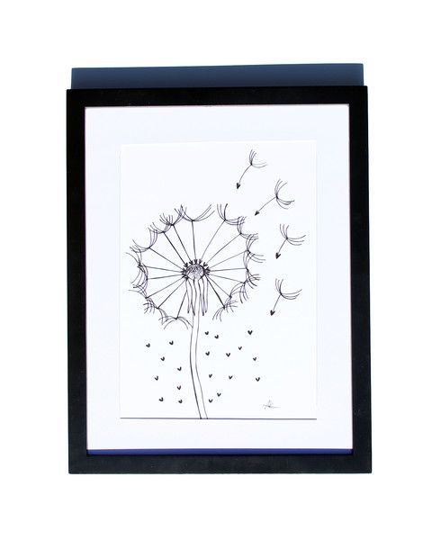 Fineliner – Drawing handmade 20x30cm: Dandelion with hearts – a unique product by ARTandCAT on DaWanda