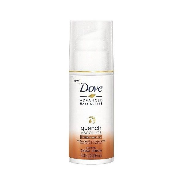 Dove Advanced Hair Series Supreme Crème Serum Quench Absolute . oz ($5.99) ❤ liked on Polyvore featuring beauty products, haircare, styling products, curly hair care, dove hair care, curly hair styling products and dove haircare