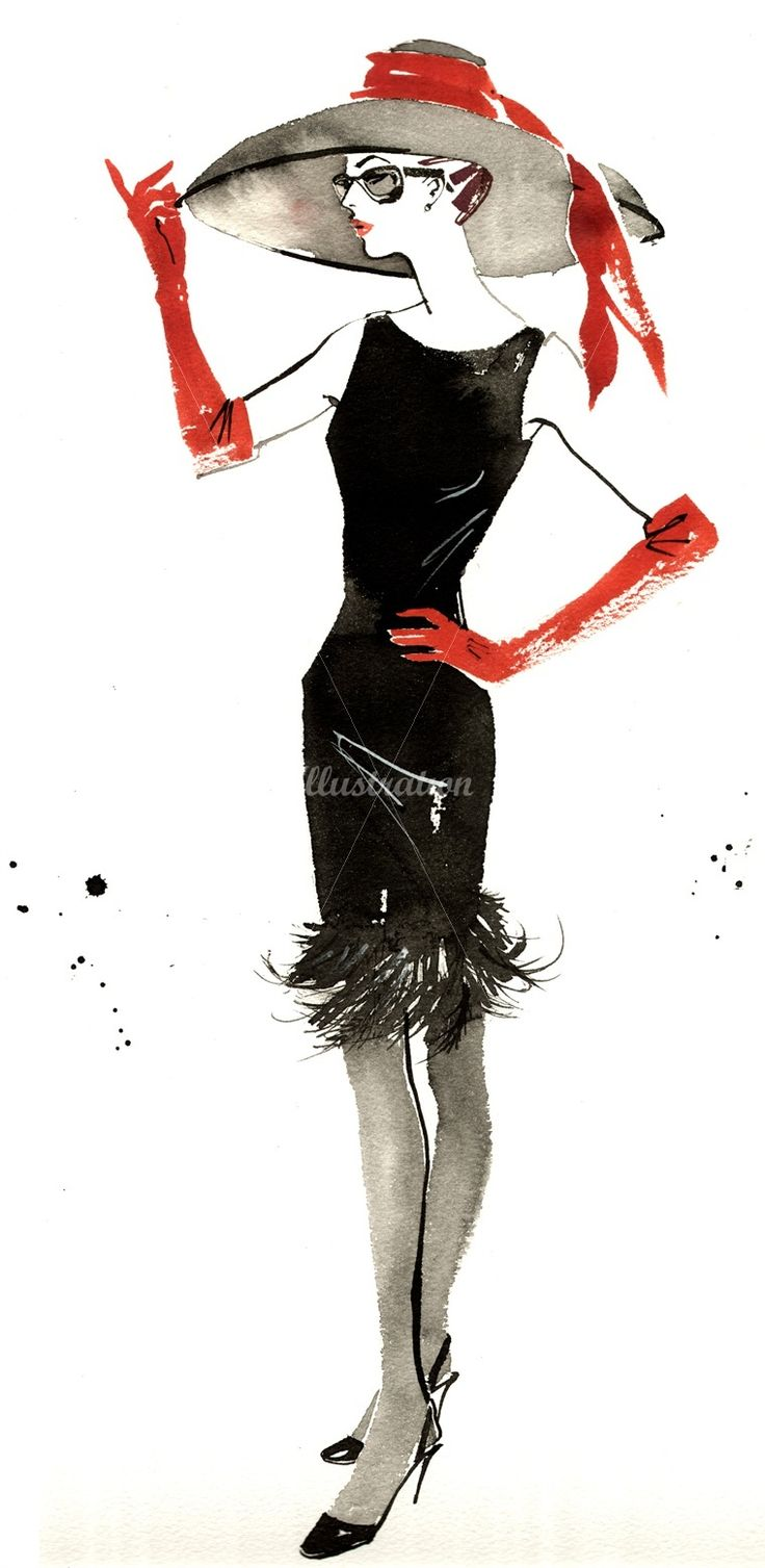 Black, white and red; a fashion watercolor artwork by Jacqueline Bissett