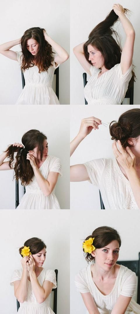 Stunning chignon hair tutorial by Strawberry Koi via The Drifter and the Gypsy.  Tip: This look is easier if you start with pre-curled hair.  French braid damp hair the night before for a no-heat curls technique.  Versatile, and easy to style, use your brush for a more formal look and use your fingers for a more tousled look.