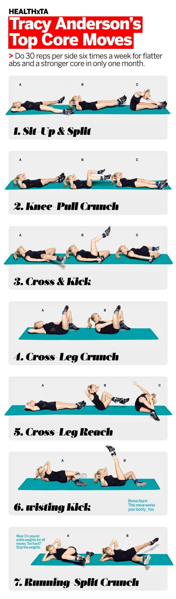 Tracy Anderson's Top Exercises for Flatter Abs and a Stronger Core: This seven-move series, created exclusively for Health readers by Tracy, is part of our 30-Day Core Challenge: Transform Your Butt, Back & Abs. It promises to do wonders for your waistlin