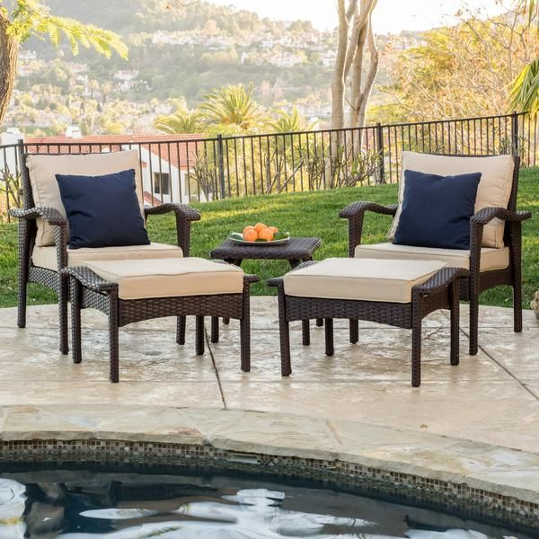 Maui Outdoor 5 Piece Brown Wicker Seating Set With Cushions