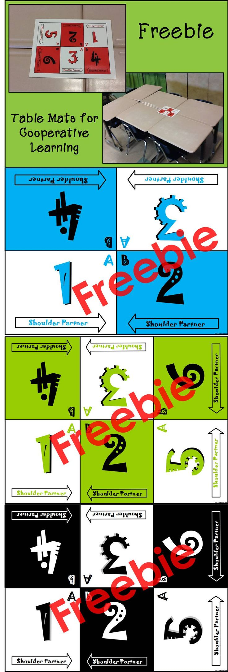 Freebie!! Table Mats for Cooperative Learning