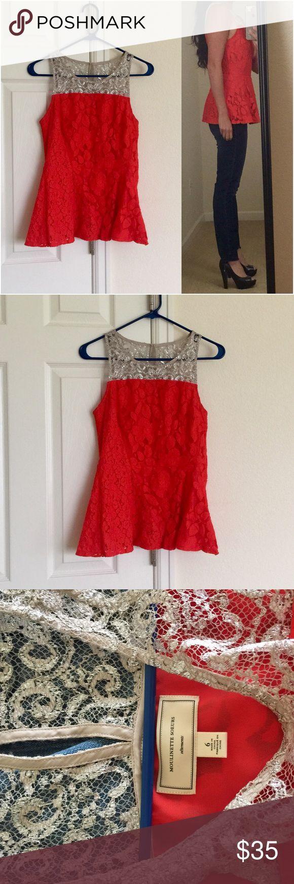 Moulinette Soeurs Peplum Top Red Peplum Top. Side zip. Size 6 Anthropologie Tops