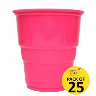 Hot Pink Plastic Cups (Pack of 25) | Hot Pink Party Supplies - Discount Party Supplies