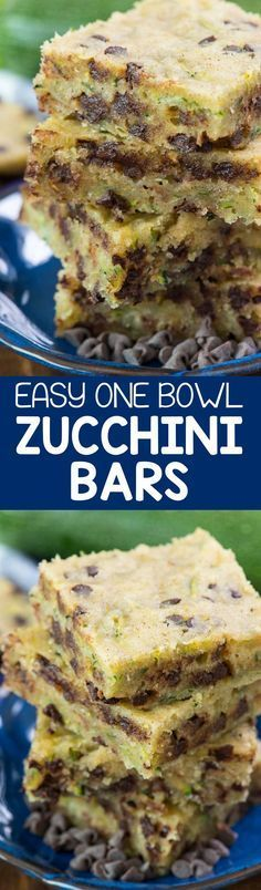 Chocolate Chip Zucchini Bars - this easy one bowl zucchini bar recipe isn't quite a cookie or a cake but it's a delicious soft and sweet dessert full of zucchini and chocolate!
