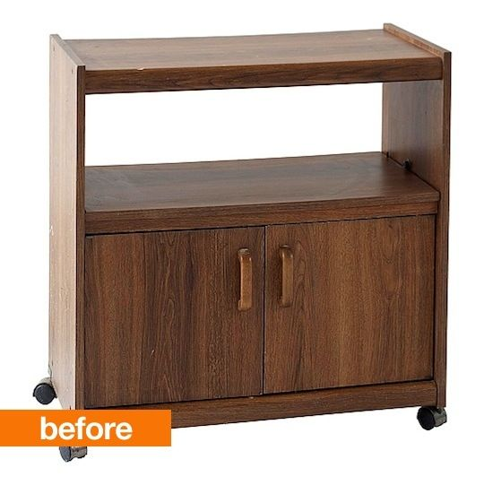 I feel like I've seen this exact TV cart a hundred times at my neighborhood thrift store. I'm usually pretty good at spotting a diamond in the rough, but I never noticed the potential in a piece like this. It's like melancholy in cart form, or melancholy on wheels to be precise, which is why I love this DIY makeover. It turns a bummer into a cheerfully classic bedside table.