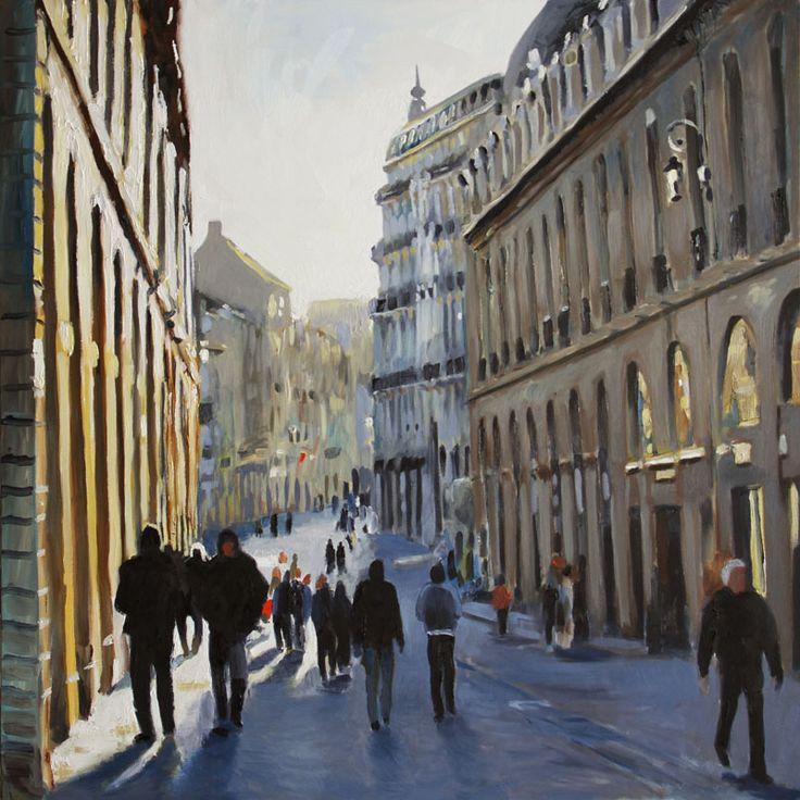 Rue de la libert huile sur toile 80 x 80cm peintures jean matrot pinterest toile for Peinture isolante phonique dijon