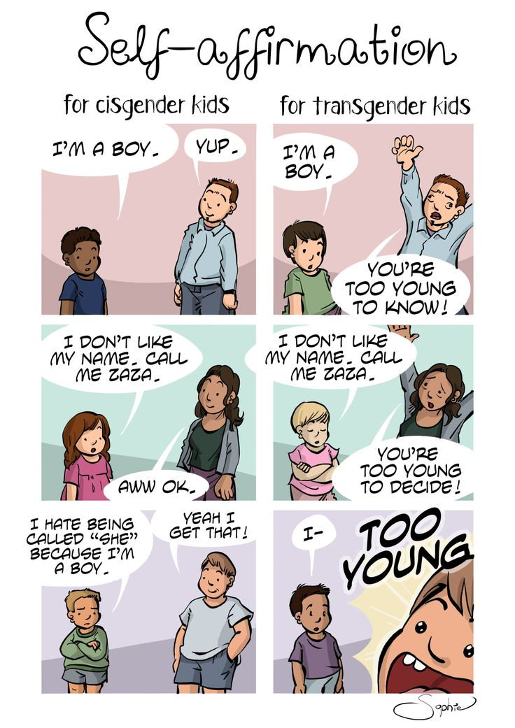 """assignedmale: """" """"Self-affirmation for cisgender kids vs for transgender kids"""" tl;dr : TOO YOUNG Sophie Labelle """""""