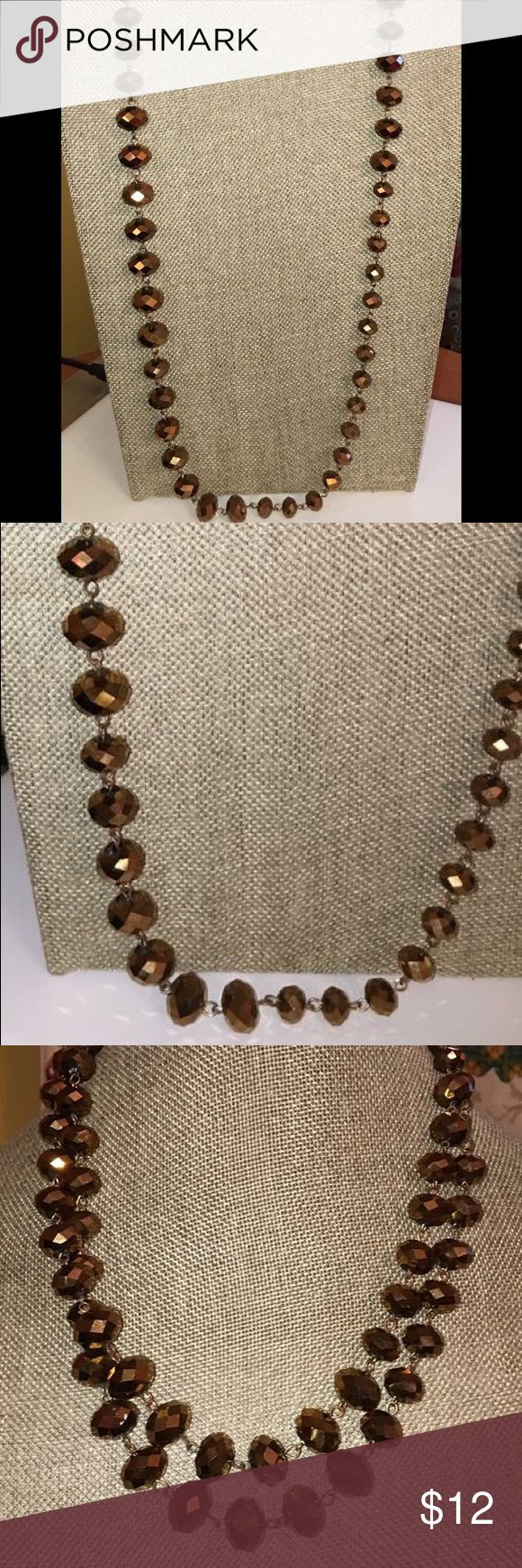 """Long Bronze Faceted Crystal Beaded Chain Necklace Long 42"""" Bronze Faceted Crystal Beaded Chain Necklace. Beads are glass. Jewelry Necklaces"""
