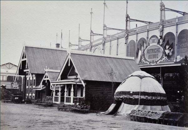World's Fair of 1867 Russian Isbas in the Exhibition's park, photograph from 1867.