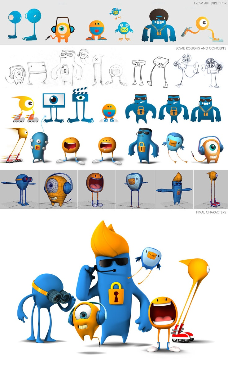 Cute monster character design, modeling, 3d characters