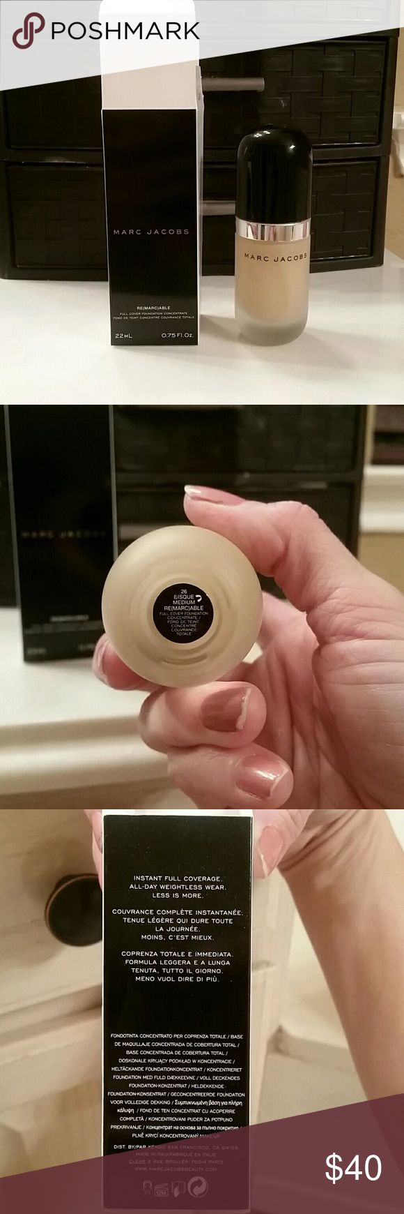 Marc Jacobs Remarkable Foundation in 26 Medium This is a full coverage light weight foundation. A little really goes a long way! I've had this for about 6 weeks, its just not my color. Paid $55 at Sephora Marc Jacobs Makeup Foundation