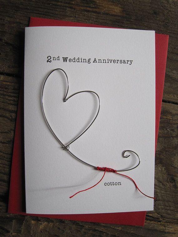 2nd Wedding Anniversary Keepsake Card Cotton Wire Heart 2 Years Traditional Gift Husb 2nd Wedding Anniversary Wedding Anniversary Keepsake Wedding Anniversary