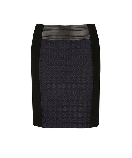 Diamond Jacquard Panel Skirt in Black / Navy #rickis #fall2014