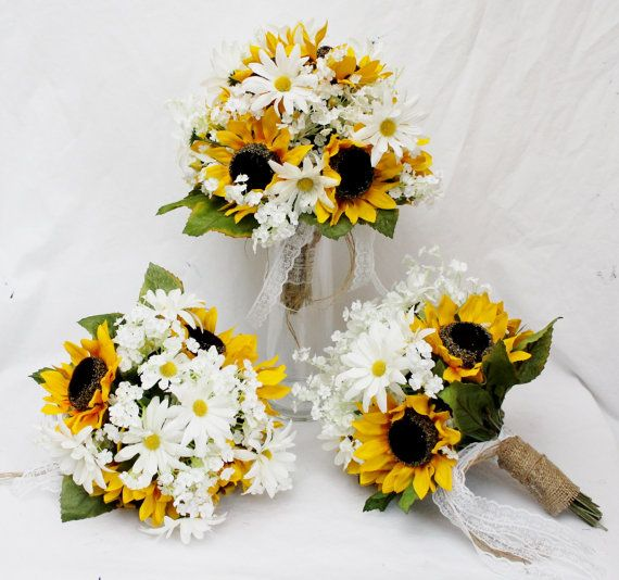 Rustic Wedding Bouquet Sunflower Bouquets White by FabbCreations