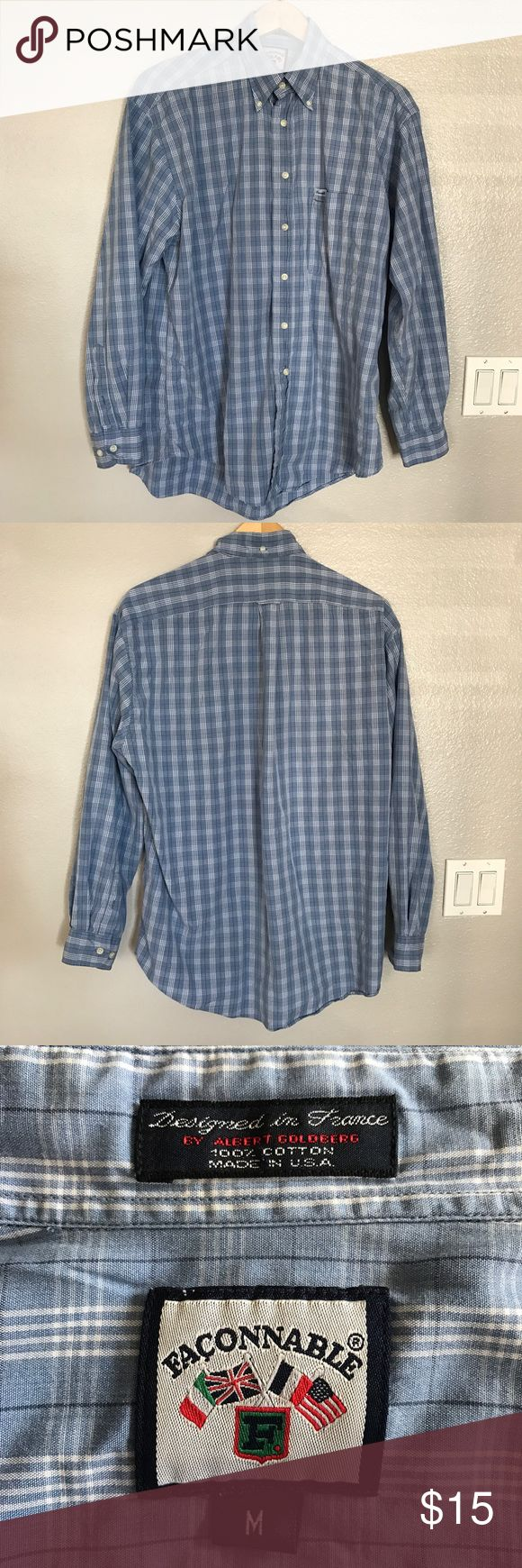 Façonnable from Nordstrom Dress Shirt Made in USA Façonnable's original fit, medium, blue dress shirt.  100% cotton.  Designed in France 🇫🇷 by Albert Goldberg.  Made in U.S.A. 🇺🇸Excellent Condition, Smoke-free, Pet-free, Fast Shipper, ⭐️⭐️⭐️⭐️⭐️ Top-Rated Seller, Create a Poshmark account with code GWXMV for $5 off 🛍 Bundle to save even more‼️ Façonnable Shirts Dress Shirts