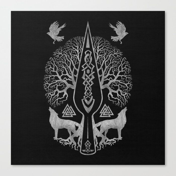 Buy Gungnir – Spear of Odin and Tree of life -Yggdrasil Canvas Print by k9printart. Worldwide shipping available at Society6.com. Just one of millions…