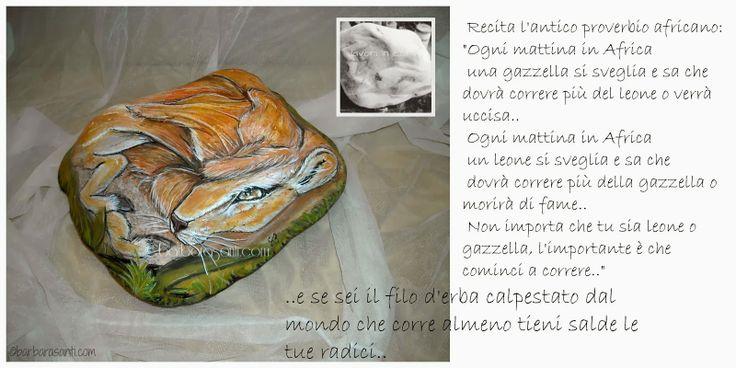 il mondo in un sasso #leone #gazzella #artwork #art #africa © Copyright Barbara Santi