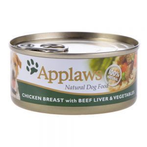 Applaws kippenborst filet, runderlever en groenten  Aanvullend diervoeder voor honden bereid van 100% natuurlijke ingrediënten zoals kippenborst, runderlever en verse groenten. Vrij van vulmiddelen kleur-, geur- en smaakstoffen en conserveringsmiddelen.