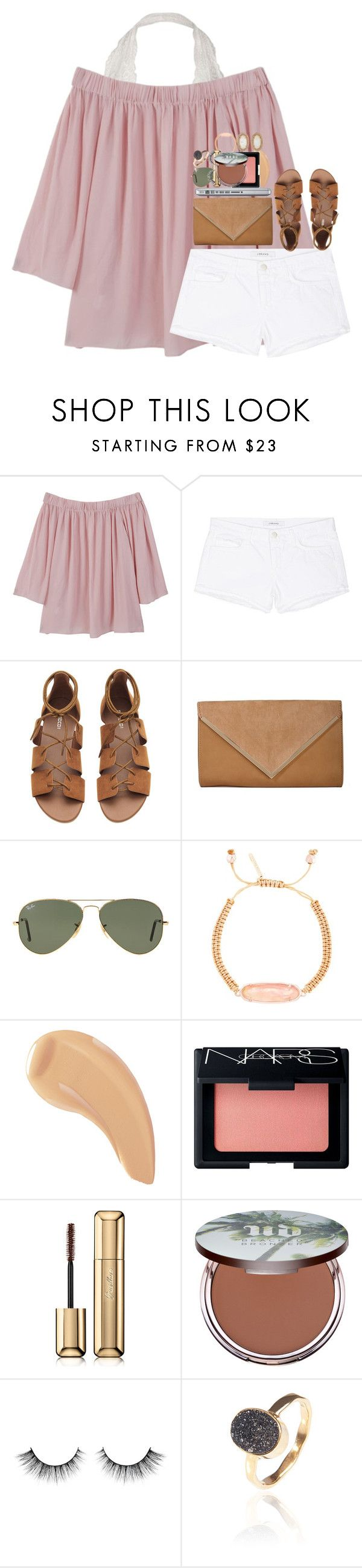 """""""coming up with captions is the worst"""" by hmcdaniel01 ❤ liked on Polyvore featuring MANGO, J Brand, Ray-Ban, Kendra Scott, NARS Cosmetics, Guerlain, Urban Decay and Latelita"""