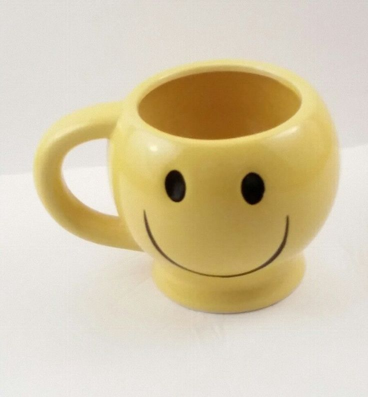 Smiley Face Yellow Ceramic Mug Planter Pencil Holder #unknown