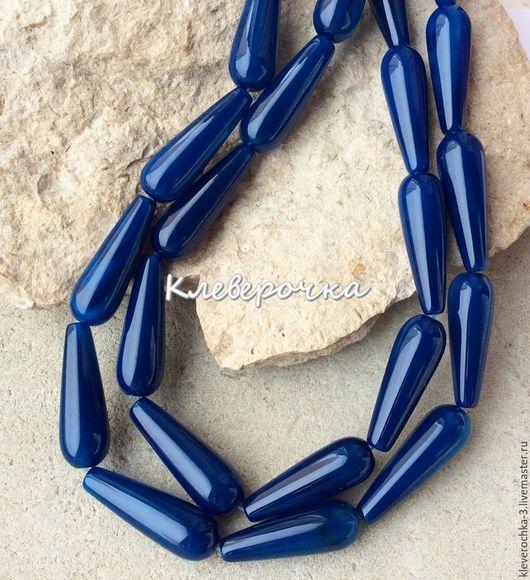 Для украшений ручной работы. Ярмарка Мастеров - ручная работа. Купить Агат 30 мм синий капли гладкий бусины камни для украшений. Handmade.
