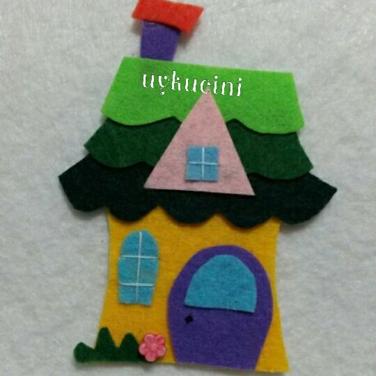 uykucini - felt house, felt brooch.. keçe ev ...
