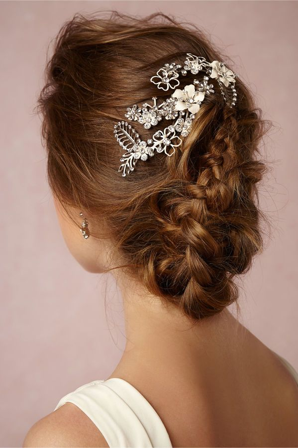 Blooms en Blanc Comb - Slender branches bloom with hand-painted, white enamel posies and dozens of hand-set crystal-adorned leaves. Carefully crafted in accessory designer Debra Moreland's Ohio studio, this exquisite piece is gorgeous tucked into bohemian braids or flowing waves.