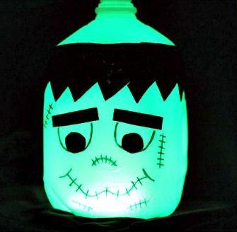 How to Make a Halloween Glow in the Dark Frankenstein Milk Jug (Cute & Easy)