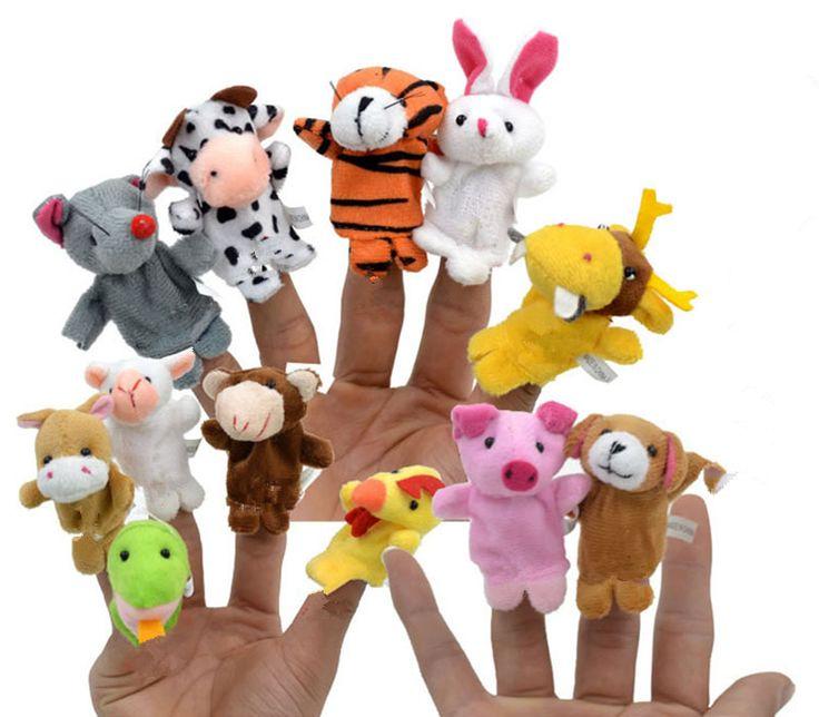 12pcs Cartoon Animal Velvet Finger Puppet Finger Toy Finger Doll Baby Cloth Educational Hand Toy Story