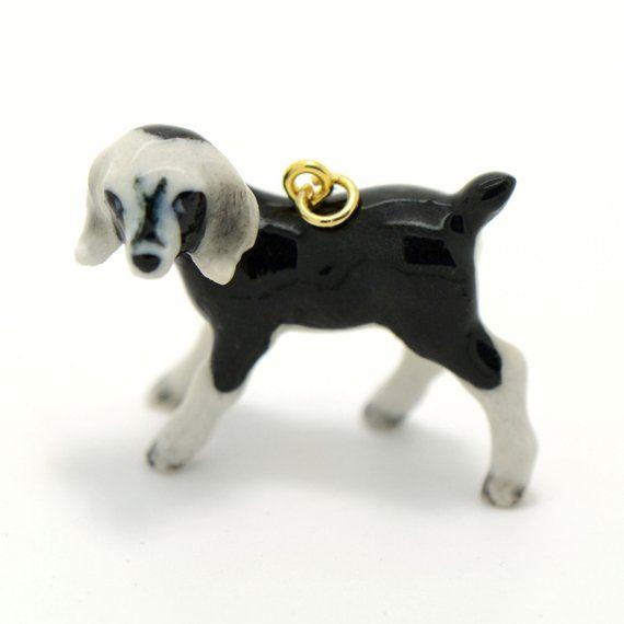 Hand Painted Porcelain Boer Goat Necklace Antique Bronze Chain Ceramic Animal