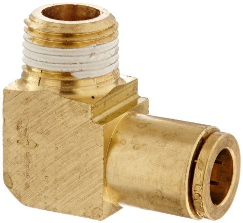 "Eaton Weatherhead 1869X6X6 Brass CA360 D.O.T. Air Brake Tube Fitting, 90 Degree Elbow, 3/8"" NPT Male x Tube OD  90-degree air brake tube elbow fitting for connecting air brake tubes to female NPT receptacles at a 90-degree angle  3/8"" male NPT threads on one end and DOT push-in tube receptacle on the other for use with 3/8"" OD tubes  CA360 brass for strength and resistance to corrosion  Operating temperature range of -40 to +200 degrees F (-40 to +93 degrees C)  Meets DOT FMVSS 571.106..."