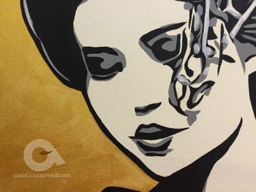 #Quadro #moderno 65x90cm #Ritratto di #Geisha con fondo #Oro...